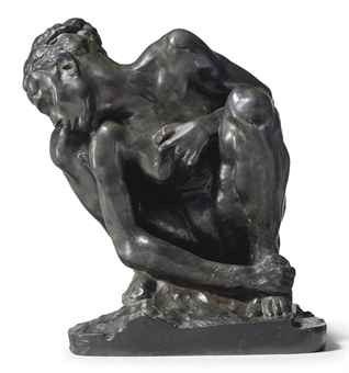 Black and white image of rodin-s bronze cast of crouching lady.