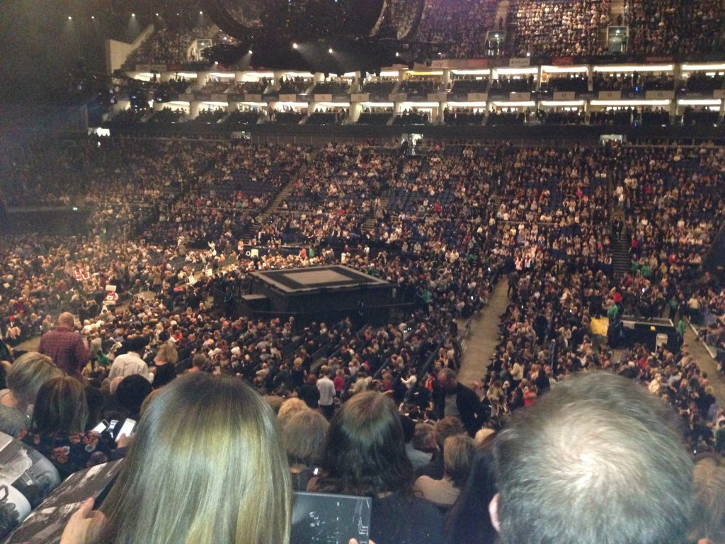 photograph showing the size of the arena, showing the central stage along with the different levels down from my seat