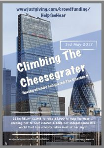 "Poster reading ""Climbing a cheesgrater, having conquered a Gherkin."""
