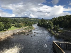 Photograph taken from ontop of the dam looking down the river and into Pitlochry