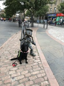 Fizz sat in front of a Mini the Minx statue on the street in Dundee