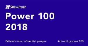 Shaw Trust Logo for the Power 100 list 2018 white text on purple background.