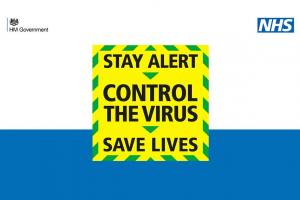 Uk gov poster reads, stay alert, control the virus, save lives