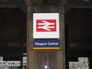 Stock photograph of Glasgow Central Station sign
